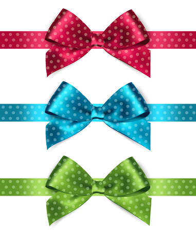 Set of Shiny satin ribbon with polka dots on white background. Red, green, blue color. Vector