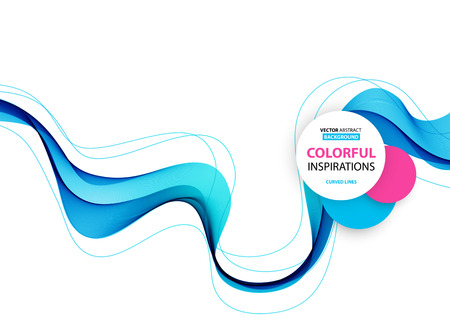 blue white: Abstract smooth color wave vector. Curve flow blue motion illustration