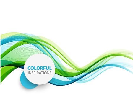 Fond abstrait vectoriel, lignes ondulées bleues et vertes pour brochure, site Web, conception de flyer. illustration eps10
