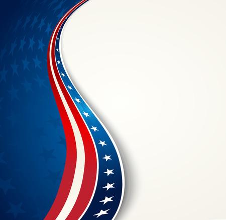 Amerikaanse vlag, Vector patriottische achtergrond voor Independence Day, Memorial Day