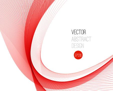 curvas: vector de onda de color liso abstracto. Curva flujo ilustración movimiento rojo