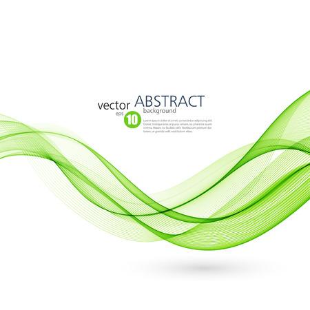 추상적 인 벡터 배경, 녹색 브로셔, 웹 사이트, 전단지 디자인을위한 라인을 흔들었다. 삽화