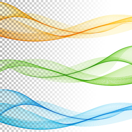 Abstract smooth color wave vector set on transparent background. Curve flow motion illustration