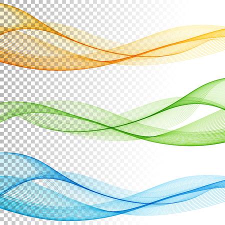 Astratto liscio onda vettore colore impostato su sfondo trasparente. Curve movimento flusso illustrazione Archivio Fotografico - 51754650