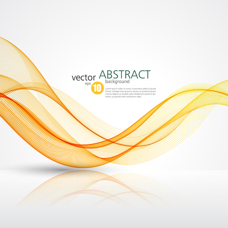 Abstract smooth color wave vector. Curve flow orange motion illustration