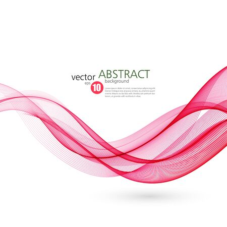 wave vector: Abstract smooth color wave vector. Curve flow red motion illustration
