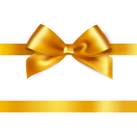 gift ribbon: Shiny gold satin ribbon on white background. Vector