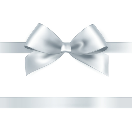 silver ribbon: Shiny white satin ribbon on white background. Vector