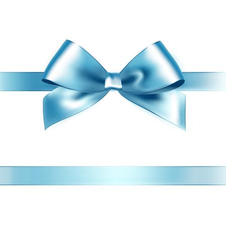 흰색 배경에 반짝이 라이트 블루 새틴 리본. 벡터