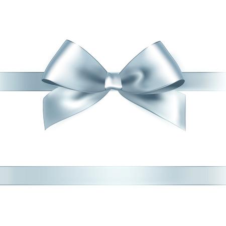 白い背景に光沢のあるシルバーのサテンのリボン。ベクトル