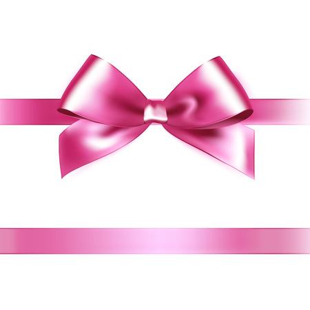 Shiny pink satin ribbon on white background. Vector Illustration