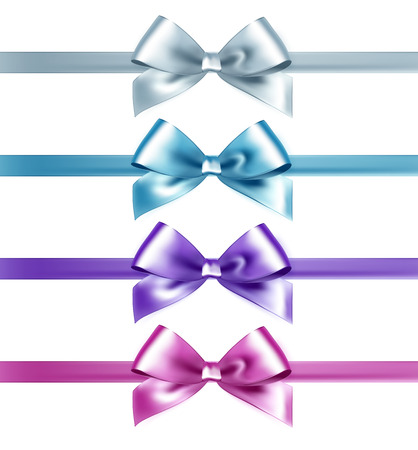 tied girl: Set of isolated pink, white and blue photorealistic silk bows for your holiday design. Illustration