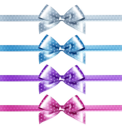 tied girl: Set of isolated pink, white and blue photorealistic silk polka dots bows for your holiday design.