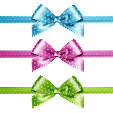 blue bow: Set of isolated pink, green and blue photorealistic silk polka dots bows  for your holiday design.