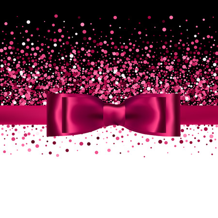 Pink glitter background with silk bow and ribbon