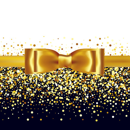bow ribbon: Golden glitter background with gold silk bow and ribbon