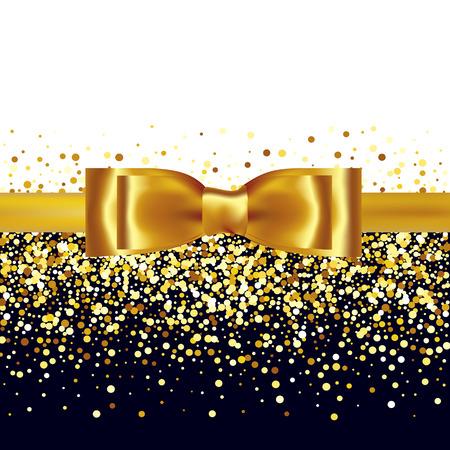 Złote tło brokat ze złotym dziobem i wstążki jedwabne