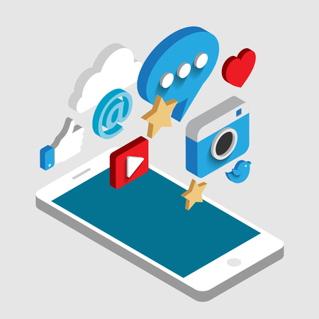 Social media flat 3d isometric concept vector icons. Desktop, chat, video, camera, phone, tablet. Flat web illustration infographics collection. Ilustração