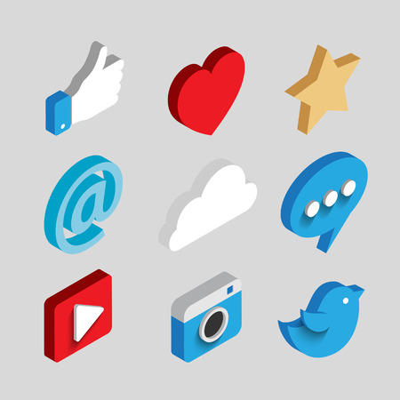 Set of Social media flat 3d isometric concept vector icons. Cloud, chat, video, camera, heart, star, like and email symbol. Flat web illustration infographics collection. Vectores