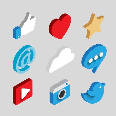 Ensemble de médias sociaux plat icônes 3d vecteur concept isométrique. Nuage, chat, vidéo, appareil photo, coeur, étoile, comme symbole et e-mail. illustration web plat collection infographies. Vecteurs
