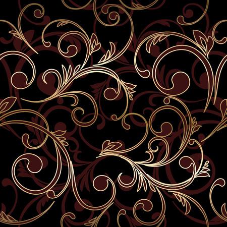 pattern antique: Damask seamless floral pattern. Royal wallpaper. Vector illustration. EPS 10. Gold leaf background