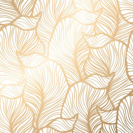 Damasco sem costura padrão floral. Papel de parede real. Ilustração vetorial EPS 10. fundo de folha de ouro