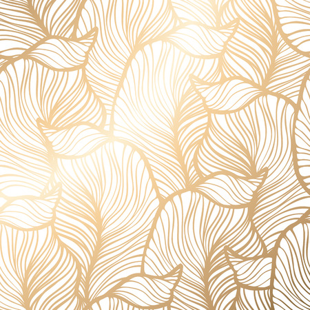 gold leaf: Damask seamless floral pattern. Royal wallpaper. Vector illustration. EPS 10. Gold leaf background