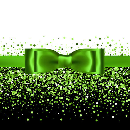 Green glitter background with silk bow and ribbon