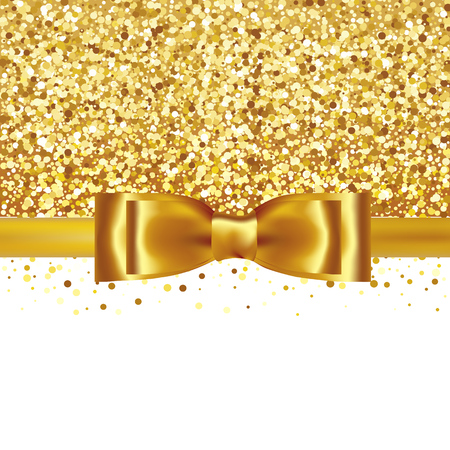 Golden glitter background with gold silk bow and ribbon
