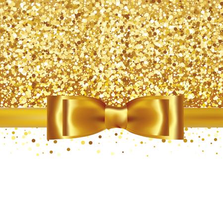 Sullo sfondo d'oro glitter con fiocco di seta oro e nastro Vettoriali