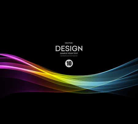 black color: Abstract vector background, fractal futuristic wavy illustration