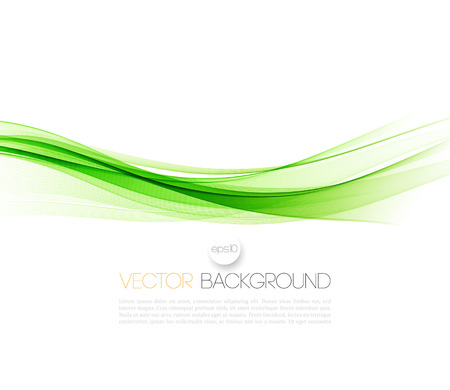 Abstract green wavy lines.  Colorful vector background Ilustrace