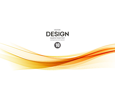 design template: Abstract smooth color wave vector. Curve flow orange motion illustration Illustration