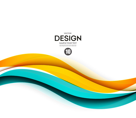 Abstract smooth color wave vector. Curve flow blue and orange motion illustration