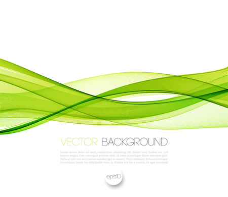 Abstract green wavy lines.  Colorful vector background Illustration