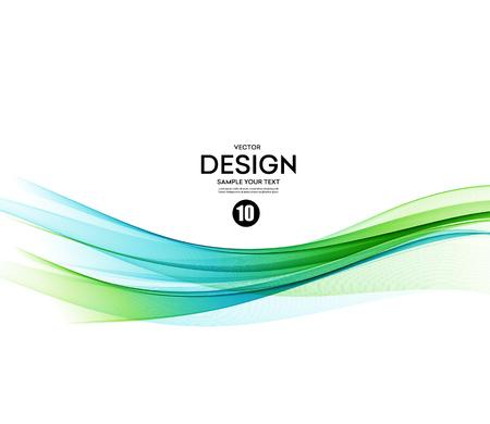 抽象的なベクトルの背景、青、緑は、パンフレット、ウェブサイト、フライヤーのデザインのラインを振った。 図