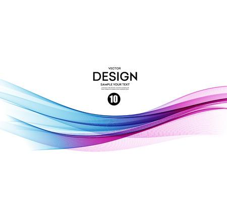 flujo: Fondo abstracto del vector, azul y violeta líneas para folleto, página web, diseño de volante agitaban. ilustración