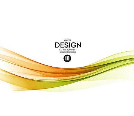 Abstract vector background, green and orange waved lines for brochure, website, flyer design.  illustration Ilustração