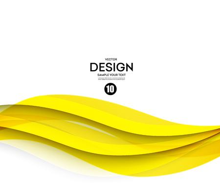抽象的な滑らかな色波数ベクトル。曲線の流れ黄色モーション イラスト