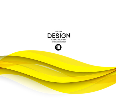 Abstract smooth color wave vector. Curve flow yellow motion illustration