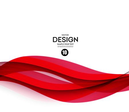 flujo: vector de onda de color liso abstracto. Curva flujo ilustración movimiento rojo