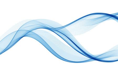 青色の波線が抽象をデザインします。