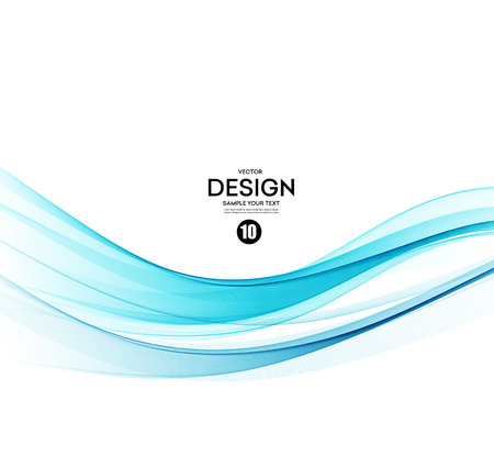 Abstract vector background, blue transparent waved lines.