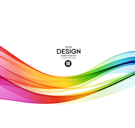 Abstract wave vector background, arcobaleno sventolato linee.