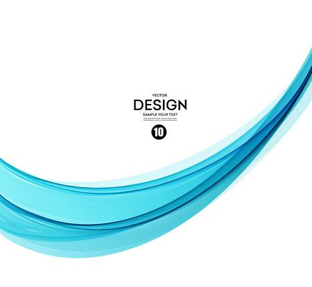 Abstract vector background, blue transparent waved lines. Banco de Imagens - 53407090
