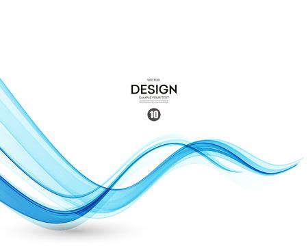 vague: Résumé de fond de vecteur, bleu lignes ondulées transparentes.