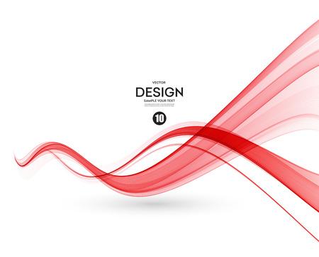 抽象的な滑らかな色波数ベクトル。曲線の流れ赤モーション イラスト  イラスト・ベクター素材