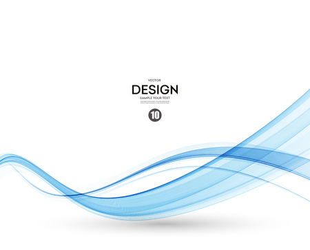 smooth curve design: Abstract vector background, blue transparent waved lines.