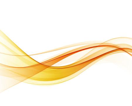 추상 오렌지 컬러 웨이브 디자인 요소입니다. 추상 부드러운 색 물결 모양의 벡터입니다. 곡선 흐름 오렌지 모션 그림입니다. 오렌지 연기 웨이브 라인