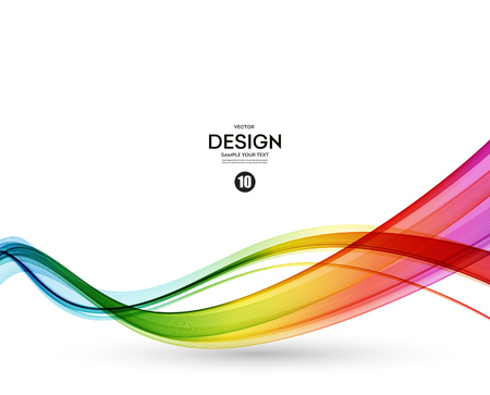leaflet design: Abstract wave vector background, rainbow  waved lines.